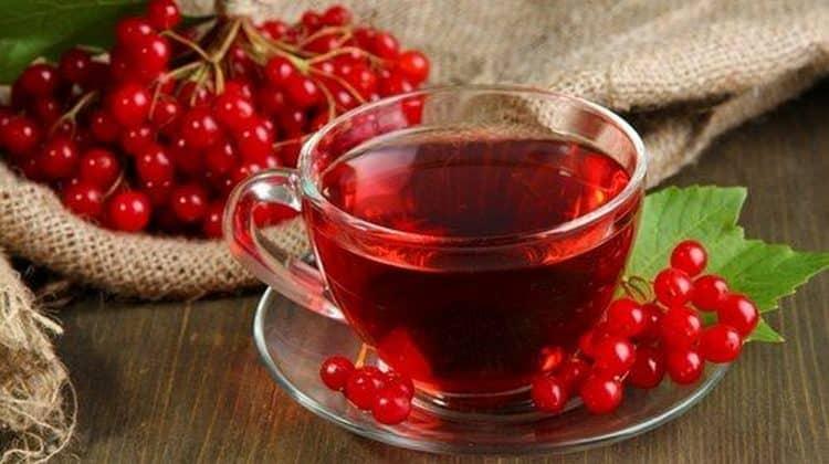 Чай с калиной эффективен при простуде.